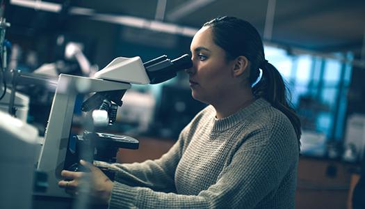 A young woman looking through a microscope in a lab